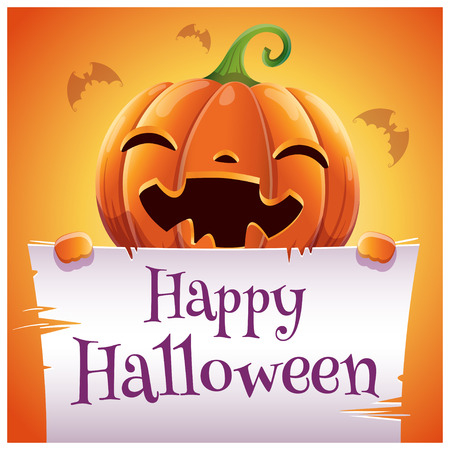 Happy Halloween poster with smiling pumpkin with parchment on orange background. Happy Halloween party.