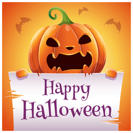Happy Halloween poster with angry evil pumpkin with parchment on orange background. Happy Halloween party.