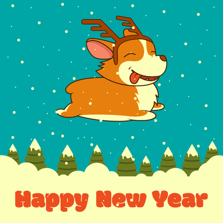 Vector New Year card with dog with deer horns on winter forest background. Welsh corgi dog. For christmas, New Year poster, postcard.