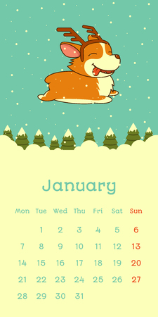 2019 January calendar with welsh corgi dog on snow christmas tree forest background, vector funny cartoon character
