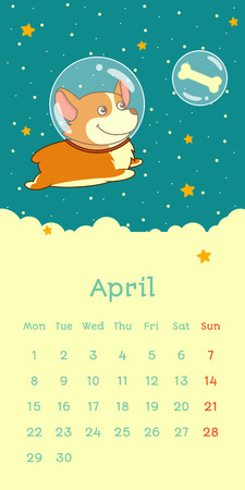 2019 April calendar with welsh corgi dog as astronaut in a space suit flying in the Space, vector funny cartoon character Çizim