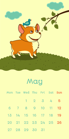 2019 May calendar with welsh corgi dog with bird on a head on green spring background, vector funny cartoon character
