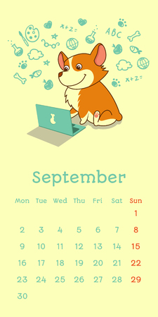 2019 September calendar with welsh corgi dog learning with laptop, vector funny cartoon character