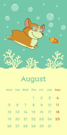 2019 August calendar with welsh corgi dog diving in ocean, vector funny cartoon character Çizim