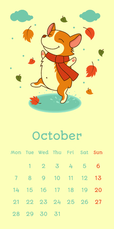 2019 October calendar with welsh corgi dog dancing on puddle on falling leaf background, vector funny cartoon character