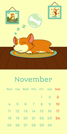 2019 November calendar with welsh corgi dog sleeping in cozy room, vector funny cartoon character