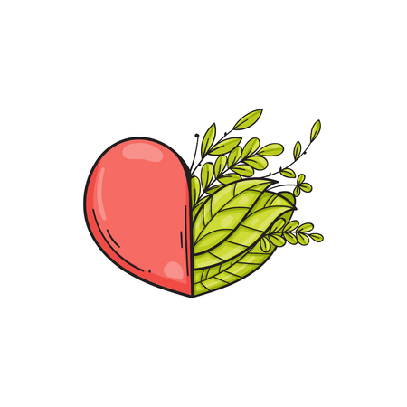 Half of heart with green leaves. Symbol of love and life, ecology. Vector isolated illustration in doodle style. Template for Valentine day. Çizim