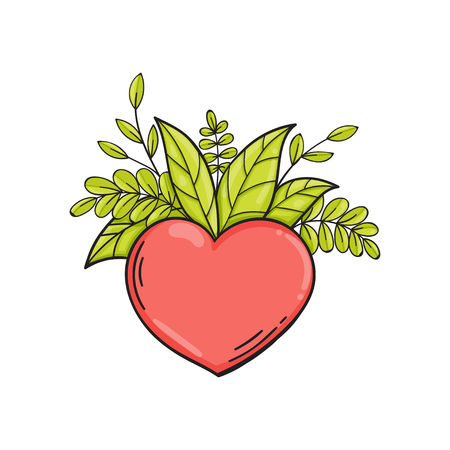 Heart with green leaves. Symbol of love and life, ecology. Vector isolated illustration in doodle style. Template for Valentine day. Çizim