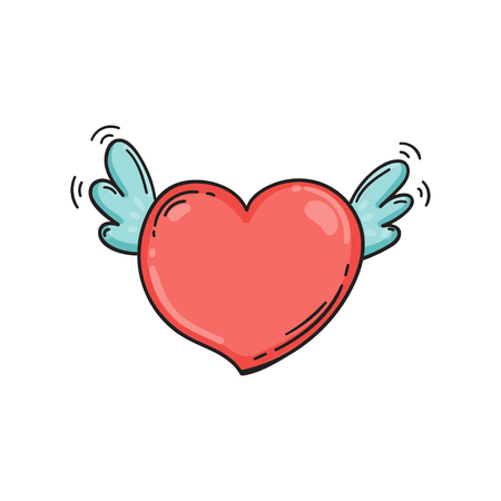 Flying heart with wings in doodle style. Cartoon love symbol isolated. Template for Valentine day. Çizim