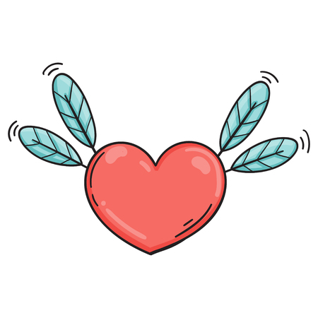 Flying heart with feathers in doodle style. Cartoon love symbol isolated. Template for Valentine day.
