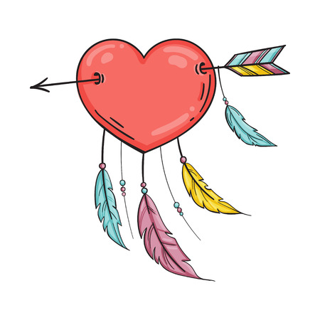 Heart with feathers pierced with an arrow, dreamcatcher as heart. Vector isolated illustration in doodle style. Template for Valentine day.
