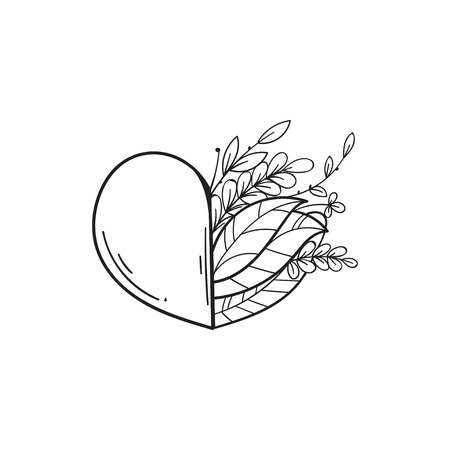 Half of heart with green leaves. Symbol of love and life, ecology. Vector isolated illustration in doodle style. Template for Valentine day. Coloring book