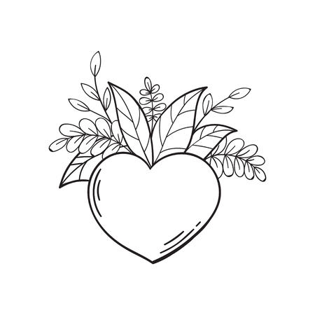 Heart with green leaves. Symbol of love and life, ecology. Vector isolated illustration in doodle style. Template for Valentine day. Coloring book