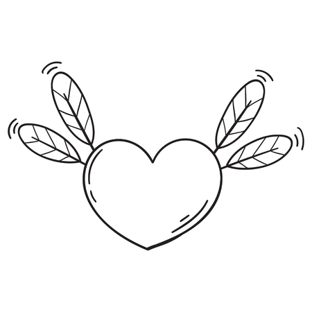 Flying heart with feathers in doodle style. Cartoon love symbol isolated. Template for Valentine day. Coloring book