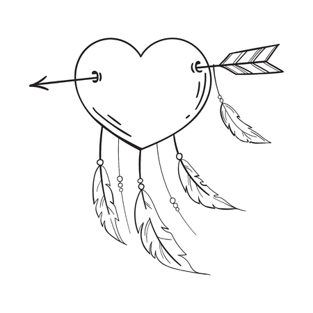 Heart with feathers pierced with an arrow, dreamcatcher as heart. Vector isolated illustration in doodle style. Template for Valentine day. Coloring book.