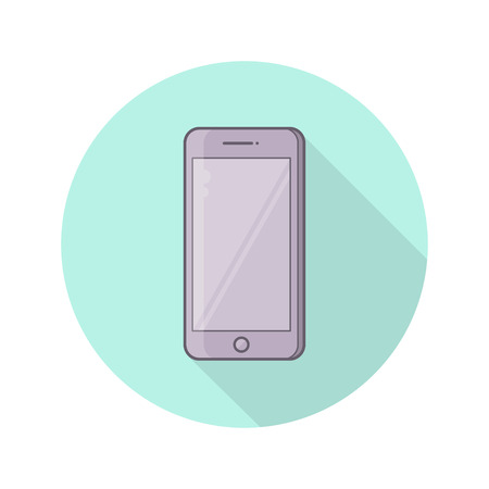 Color vector icon of realistic mobile phone, smarphone with blank screen. Isolated on white background.