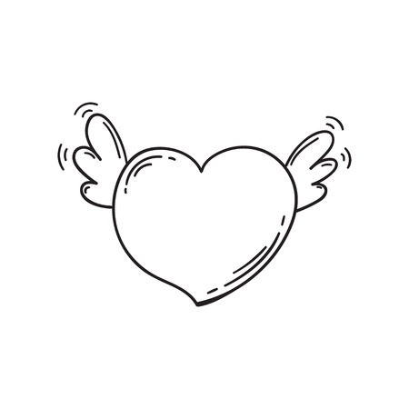 Flying heart with wings in doodle style. Cartoon love symbol isolated. Template for Valentine day. Coloring book