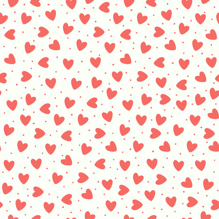 Seamless pattern with coral pink hand-drawn simple hearts on white background. Vector