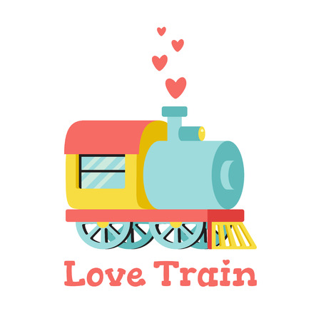 Vector illustration with locomotive and hearts. Love train. Isolated