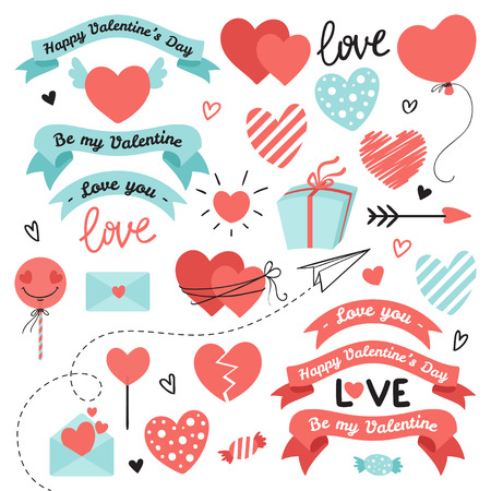 Set of elements for Valentines Day, wedding design. Includes hearts, ribbons, sweets, letters, envelopes, arrows. Love elements for your design.