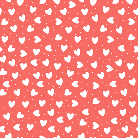 Seamless pattern with ehite hand-drawn simple hearts on coral pink background. Vector Çizim