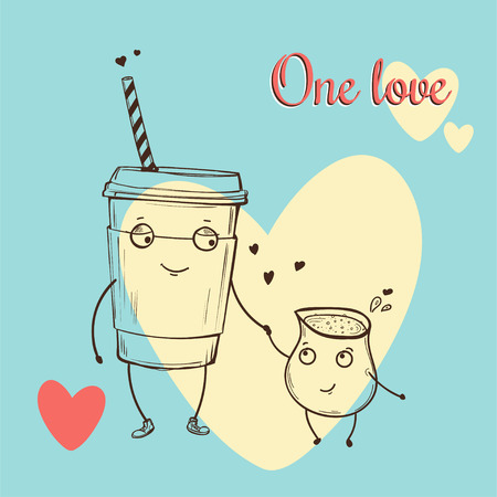 Card with vector cartoon characters in love on blue background with big white heart, latte with cream.. Isolated