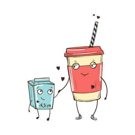 Cute characters vector color illustration of cappuccino and milk in love