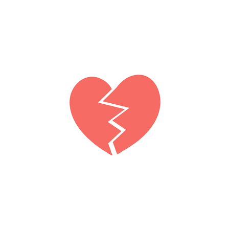 Two red halves of broken heart illustration, icon for Valentines Day, wedding design.