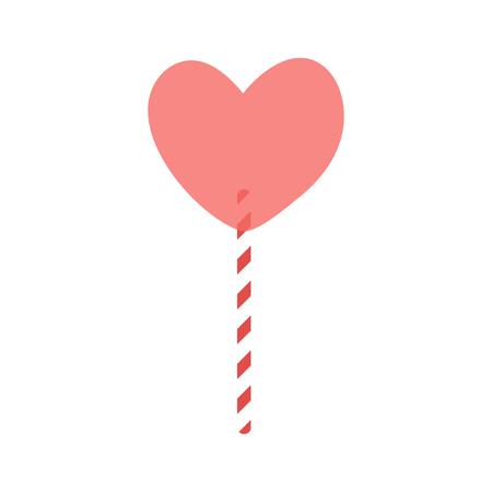 Heart shape lollipop on striped stick, icon for Valentines Day, wedding design. Ilustração