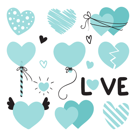 Set of different blue hearts with lettering for Valentines Day, wedding design. Love elements for your design.
