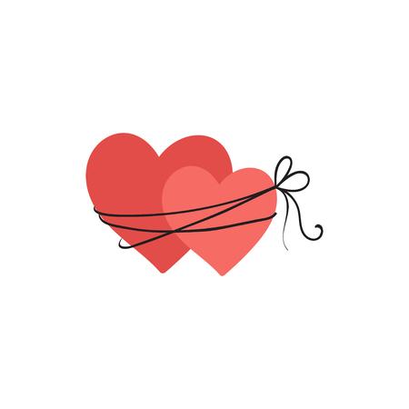 Bound two hearts illustration, icon for Valentines Day, wedding design. Ilustração