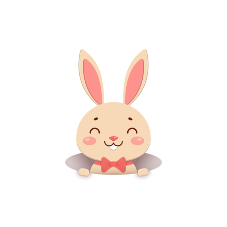A cute cartoon bunny in a red bow tie is looking out of the hole and smiling. Isolated on white background.