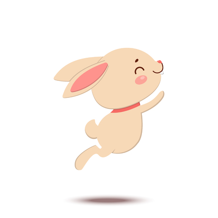 A cute cartoon bunny in a red bow tie is jumping and smiling. Isolated on white background. Happy Easter. Çizim