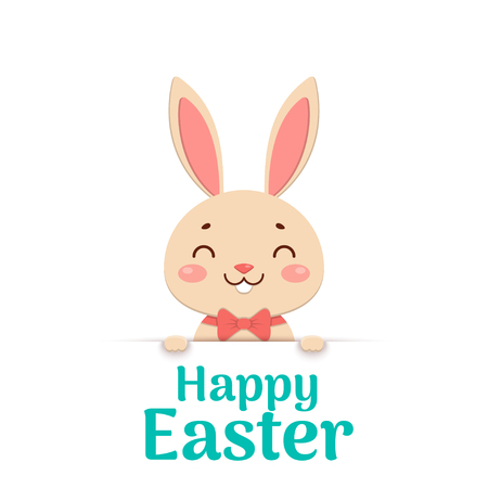 A cute easter cartoon smiling bunny in a red bow tie is looking out of the hole and holding the text place. Happy Easter.