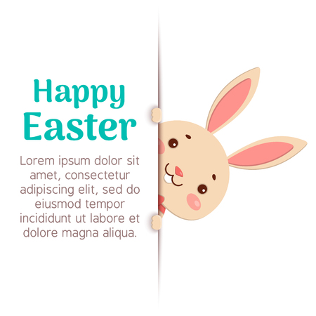 A cute easter bunny is looking out of the hole and holding the text place. Happy Easter.