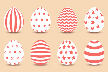 Vector cartoon set of Easter painted eggs.