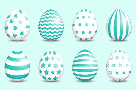 Set of realistic easter decorated eggs on turquoise background.