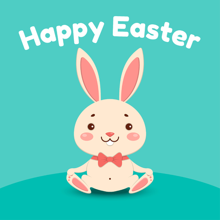 A cute cartoon bunny in a red bow tie is sitting and smiling. Isolated on turquoise background. Happy Easter. Çizim