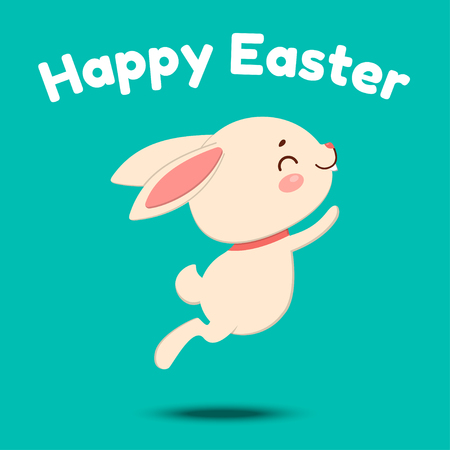 A cute cartoon bunny in a red bow tie is jumping and smiling. Isolated on turquoise background. Happy Easter.