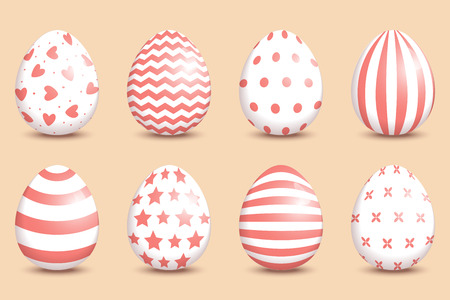 Set of realistic easter decorated eggs on coral background.