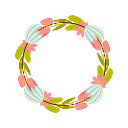 Happy Easter wreath. Vector illustration with colorful wreath of flowers, eggs and rabbits. Isolated on white background.