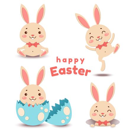 Set of cute cartoon Easter bunnies and egg