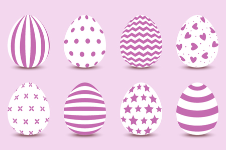 Vector cartoon set of Easter painted eggs. Isolated vector