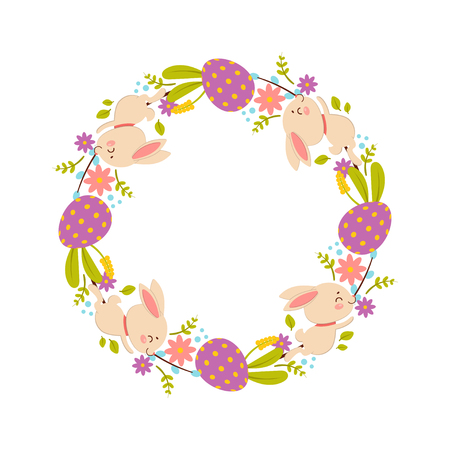 Easter wreath of flowers, eggs and rabbits. Isolated on white background.
