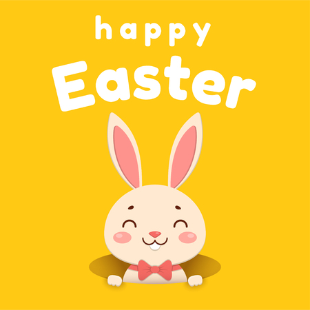 A cute cartoon bunny in a red bow tie is looking out of the hole and smiling. Isolated on yellow background.
