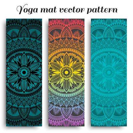 Set of ethnic designs for yoga mat. Vector pattern with mandala. Çizim