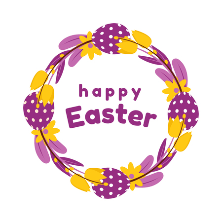 Easter wreath of painted eggs, tulips, and willow in yellow and purple colours. Isolated on white background. Çizim