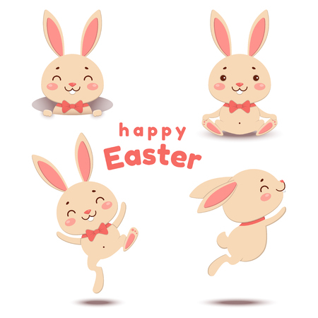 Collection of cute cartoon Easter bunnies in different activities.