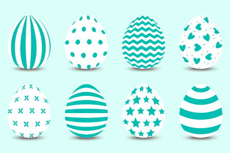 Vector cartoon set of Easter painted eggs. Turquoise palette.