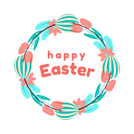Easter wreath of painted eggs, tulips, and willow in blue and coral colours. Isolated on white background.